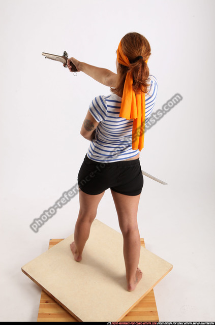 Woman Adult Athletic White Fighting with gun Standing poses Army