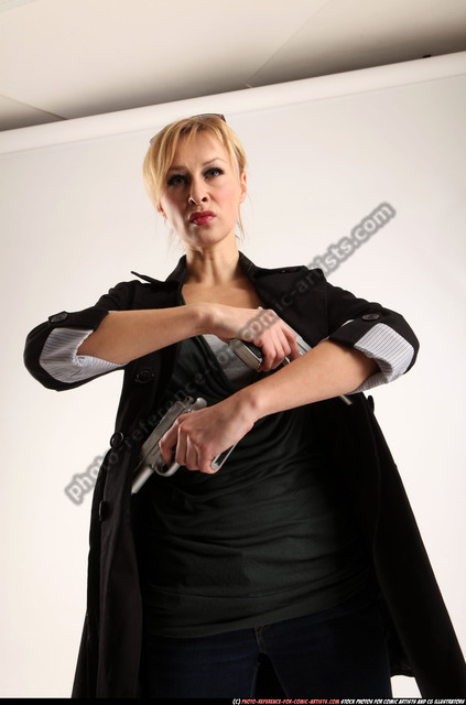 Woman Adult Athletic White Fighting with gun Perspective distortion Coat