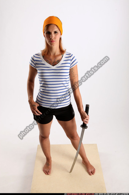 Woman Adult Athletic White Fighting with sword Standing poses Army