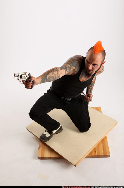 Man Adult Athletic White Fighting with gun Kneeling poses Casual