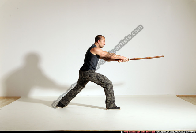 Man Adult Athletic White Fighting with sword Moving poses Army