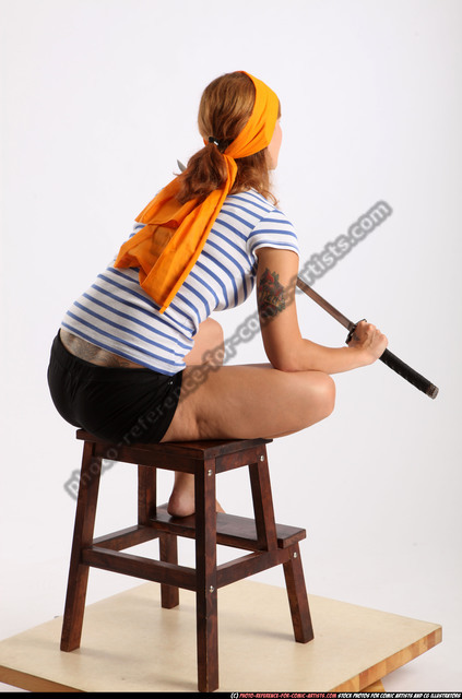 Woman Adult Athletic White Fighting with sword Sitting poses Army