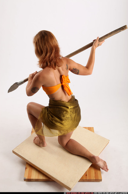 Woman Adult Athletic White Fighting with spear Kneeling poses Army