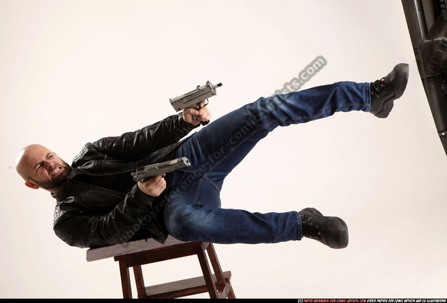 Man Adult Athletic White Fighting with submachine gun Moving poses Casual