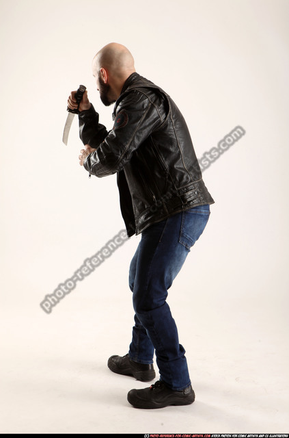 Man Adult Athletic White Fighting with sword Standing poses Jacket