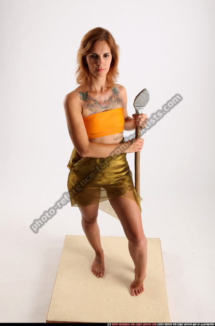 Woman Adult Athletic White Fighting with spear Standing poses Army