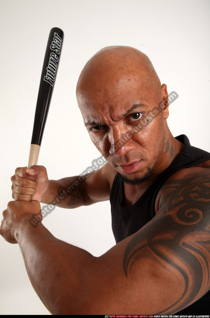 Man Adult Athletic Black Standing poses Sportswear Fighting with bat