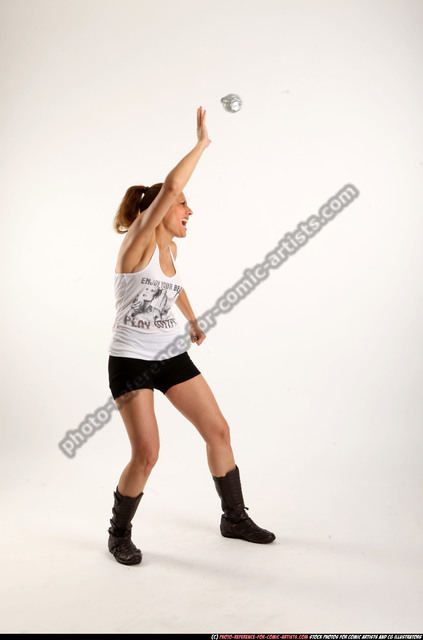 Woman Adult Athletic White Throwing Moving poses Casual