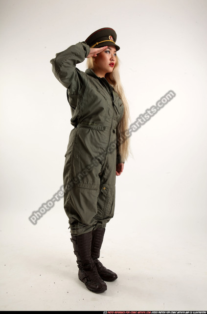 Woman Young Average Neutral Standing poses Army Asian