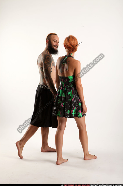 Man & Woman Adult Athletic White Daily activities Moving poses Casual