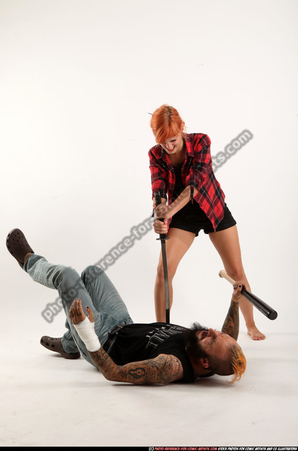 Man & Woman Adult Athletic White Fighting with sword Execution Casual