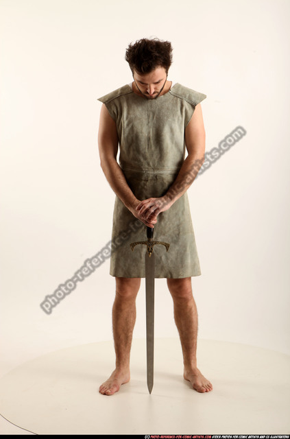 Man Adult Athletic White Fighting with sword Standing poses Army
