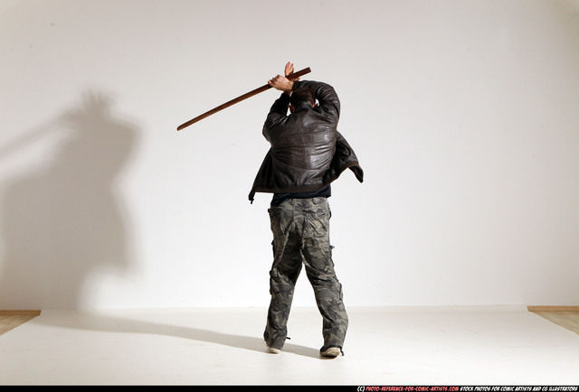 Man Adult Athletic White Fighting with sword Moving poses Jacket