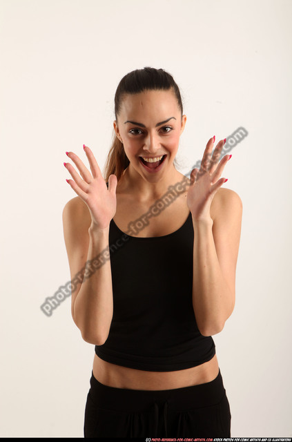Woman Young Athletic White Facial expressions Standing poses Sportswear