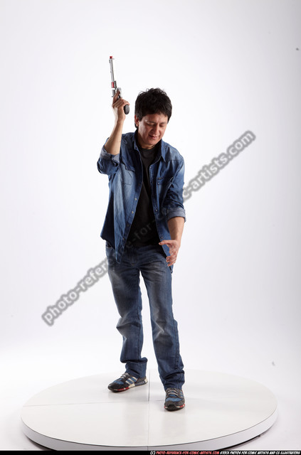 Man Adult Athletic Fighting with gun Standing poses Casual Asian