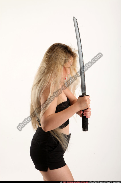 Woman Young Average Fighting with sword Standing poses Casual Asian