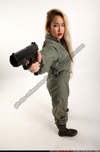 Woman Young Average Fighting with gun Standing poses Army Asian