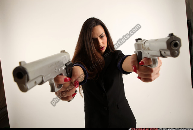 Woman Young Athletic White Fighting with gun Standing poses Casual
