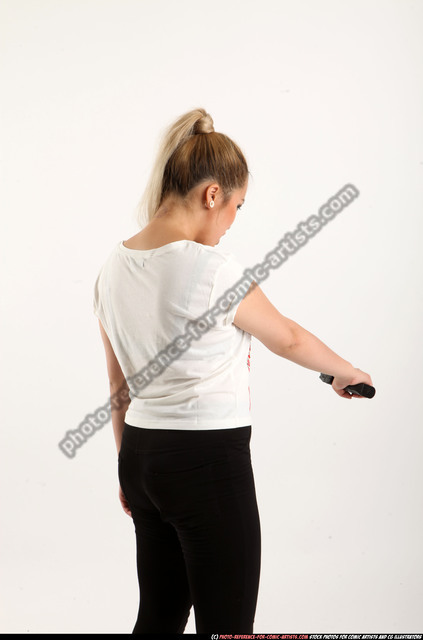 Woman Young Average Fighting with gun Standing poses Casual Asian