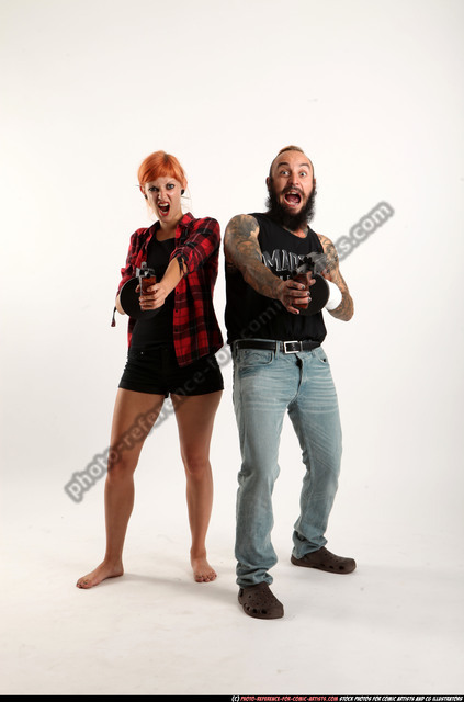 Man & Woman Adult Athletic White Fighting with submachine gun Sitting poses Casual