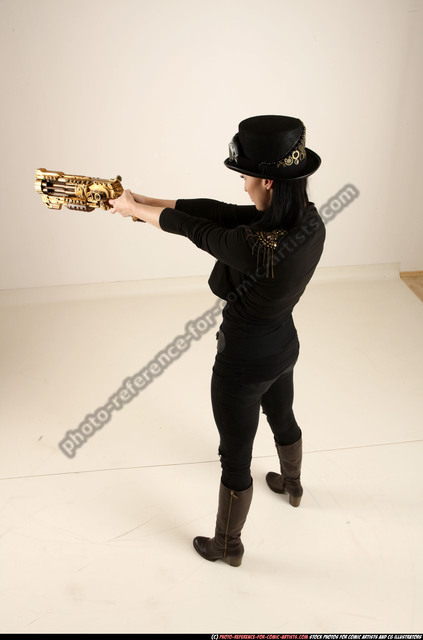 Woman Adult Athletic White Fighting with rifle Standing poses Casual