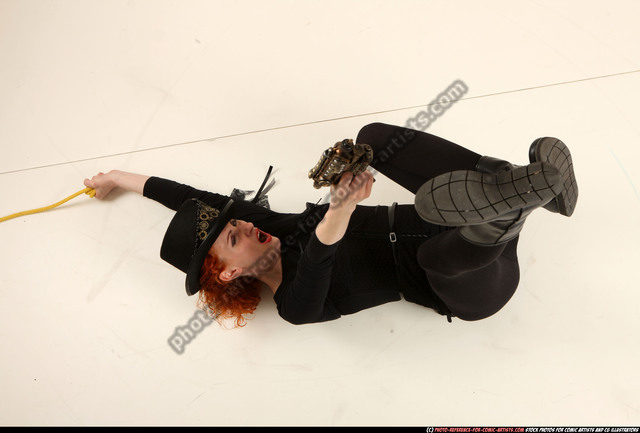 Woman Adult Athletic White Fighting with gun Moving poses Casual