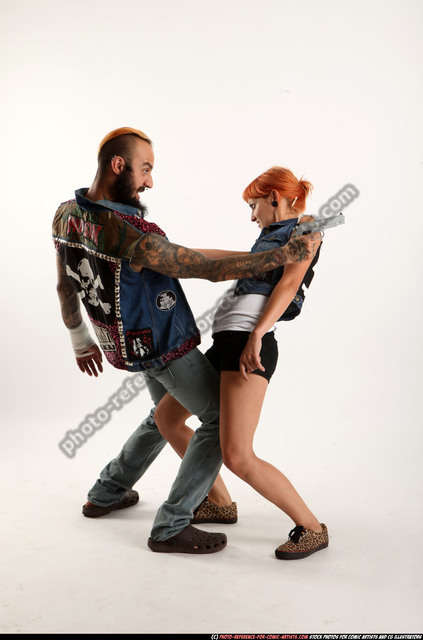 Man & Woman Adult Athletic White Fighting with gun Moving poses Casual