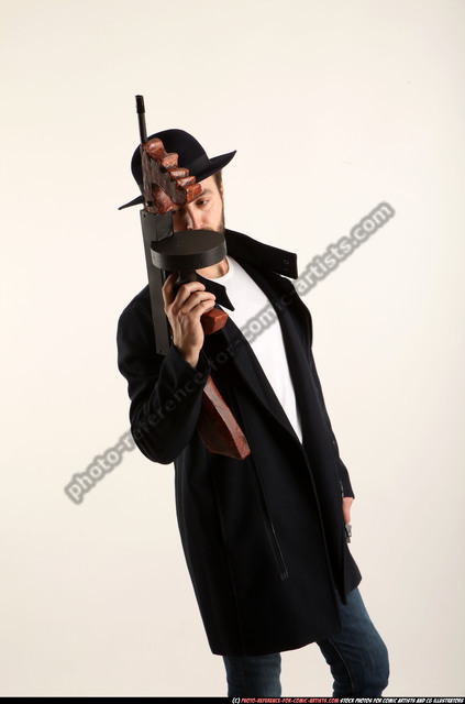Man Adult Athletic White Fighting with submachine gun Standing poses Coat