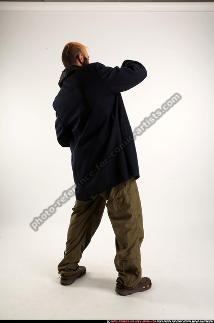 Man Adult Athletic White Standing poses Coat Fighting with shotgun