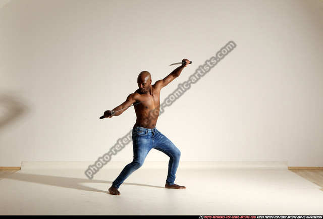 Man Adult Athletic Black Fighting with sword Moving poses Pants
