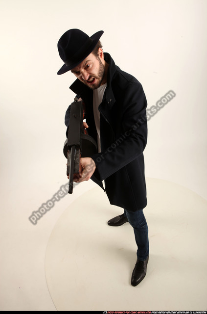 Man Adult Athletic White Fighting with gun Standing poses Coat