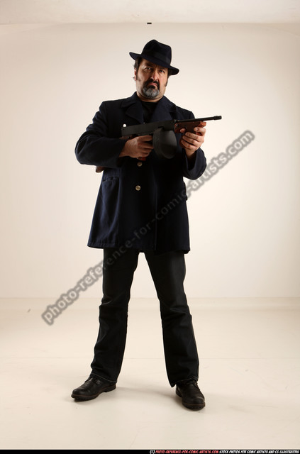 Man Old Average White Fighting with gun Standing poses Coat