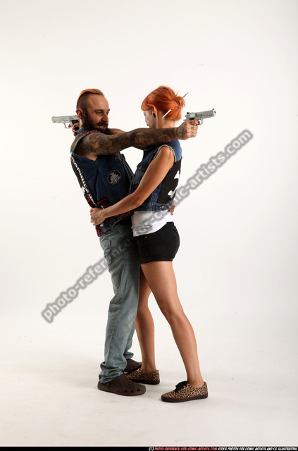 Man & Woman Adult Athletic White Fighting with gun Standing poses Casual