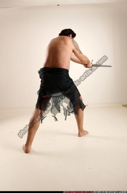 Man Old Average White Fighting with sword Standing poses Army