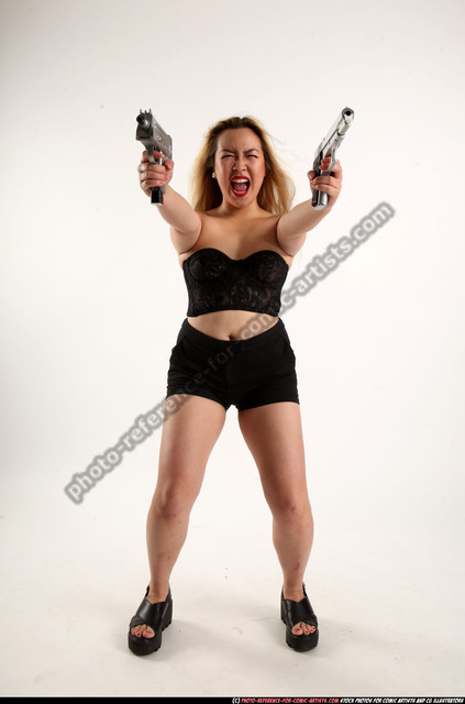 Man Young Average Fighting with gun Standing poses Underwear Asian