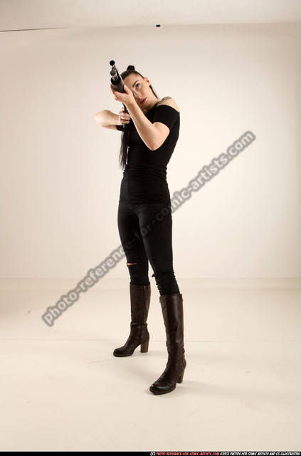 Woman Adult Athletic White Standing poses Casual Fighting with shotgun