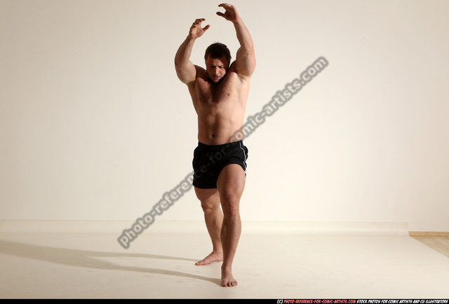 Man Adult Muscular White Fighting without gun Moving poses Underwear