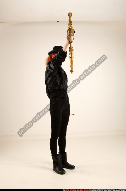 Woman Adult Athletic White Fighting with bow Standing poses Casual