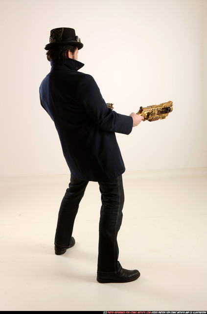 Man Old Average Fighting with gun Standing poses Casual