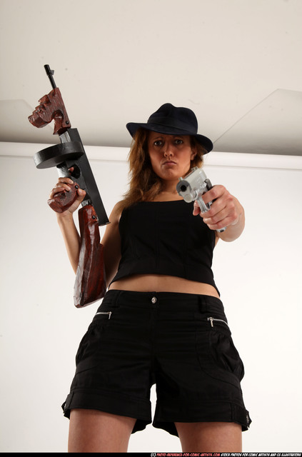 Woman Adult Athletic White Fighting with submachine gun Standing poses Casual