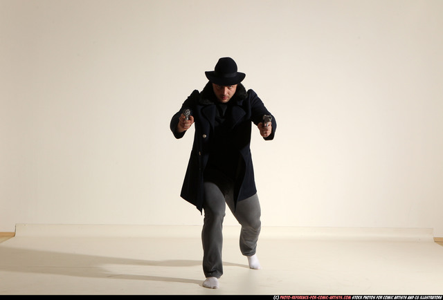 Man Adult Athletic White Fighting with gun Moving poses Coat
