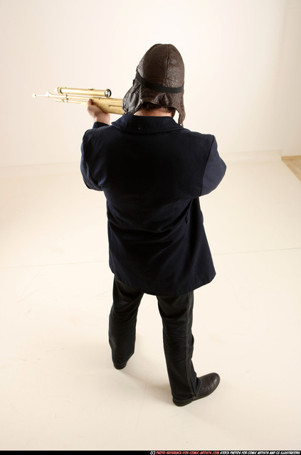 Man Old Average White Fighting with gun Standing poses Casual
