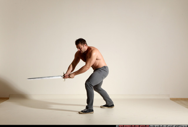 Man Adult Muscular White Fighting with sword Moving poses Pants