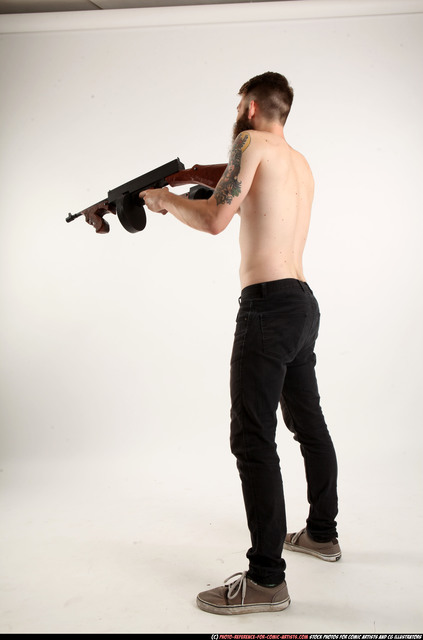Man Adult Athletic White Fighting with submachine gun Standing poses Pants
