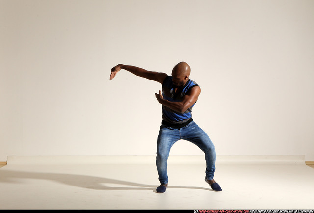 Man Adult Athletic Black Moving poses Casual Dance