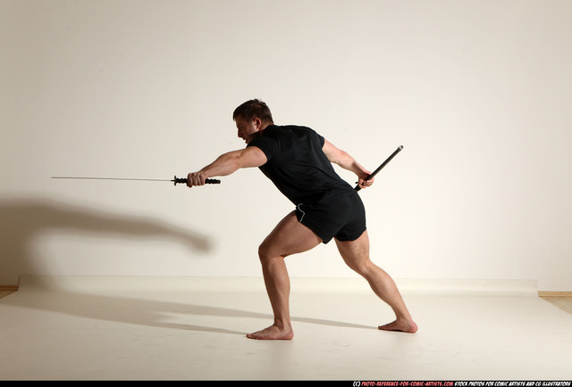 Man Adult Muscular White Fighting with sword Moving poses Sportswear