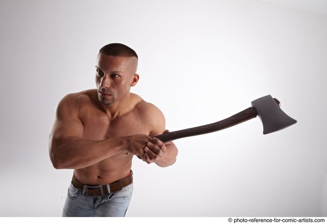 Man Adult Athletic White Fighting with gun Standing poses Casual