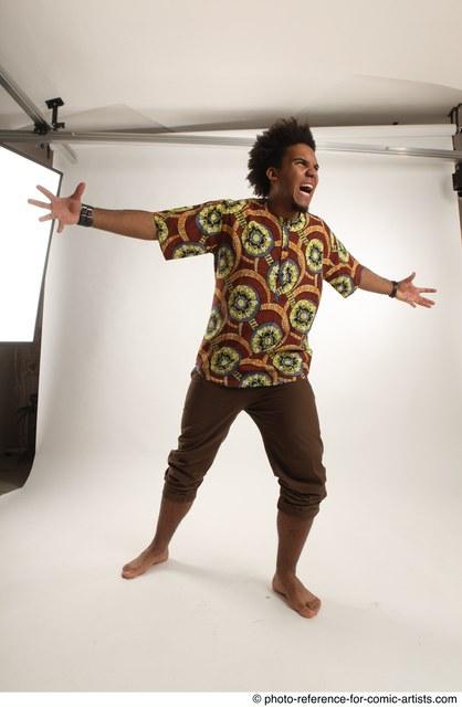 Man Adult Average Black Magic Standing poses Coat
