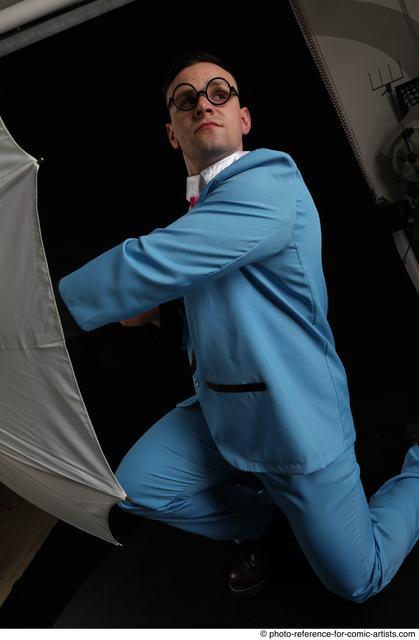 Man Adult Muscular White Fighting without gun Kneeling poses Business