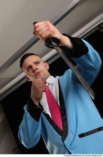 Man Adult Muscular White Fighting with knife Standing poses Business